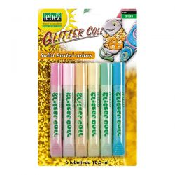 BLISTER 6 TUBETTI COLLA PASTEL GLITTER DA 10.5ml assortiti LEBEZ